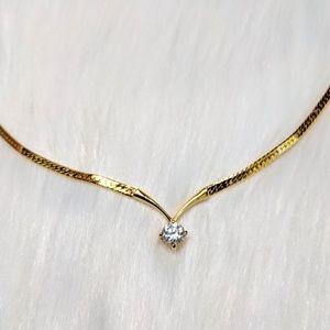 Jewelry - Gold Flat Snake Chain & CZ Pendant